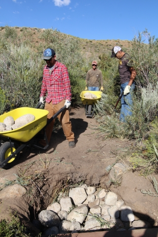 rock moving trail work wheelbarrow
