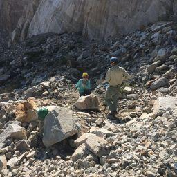 trail work rock fall