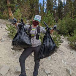 lindsay with trash