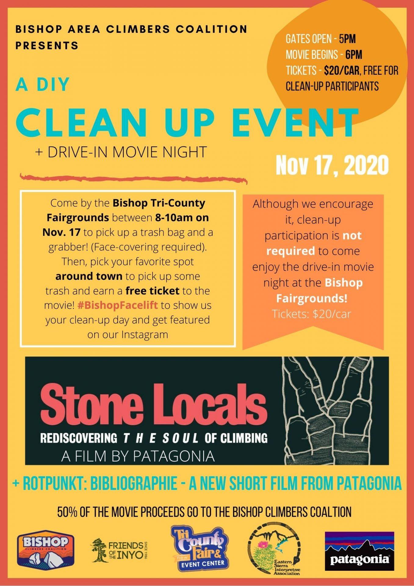 Flyer describing the Bishop stone locals movie night event