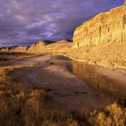 Eroded cliffs along the Amargosa River near Shoshone at sunset, Amargosa proposed Wild & Scenic River, Inyo County, CA