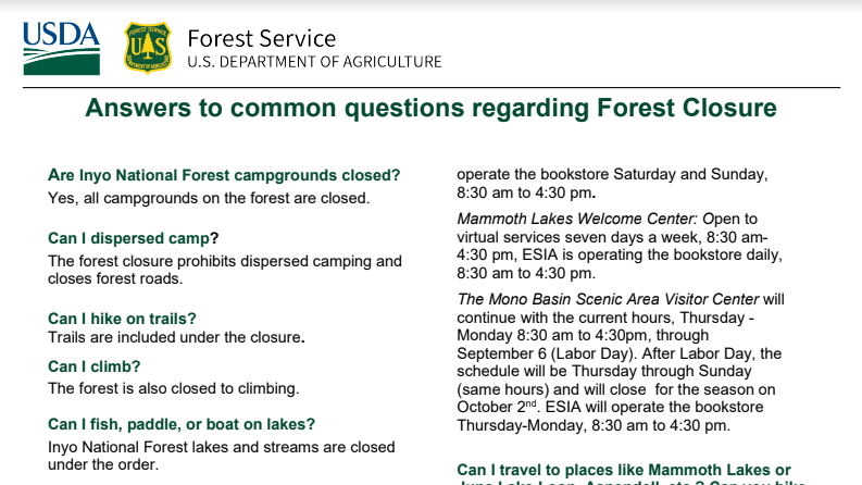 Forest closure update Sept 7 feature